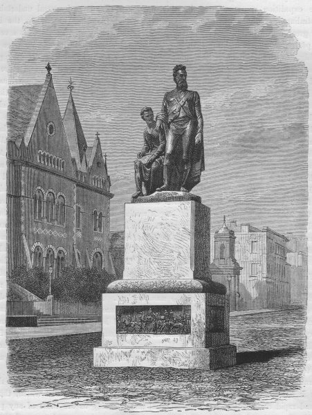 Associate Product MELBOURNE. The Monument to Burke and Wills 1882 old antique print picture