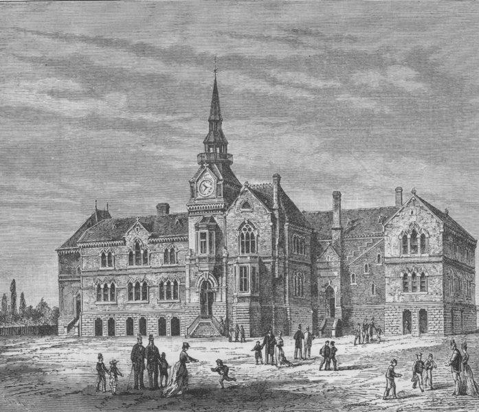 MELBOURNE. Public School 1882 old antique vintage print picture