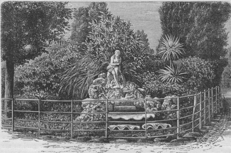 Associate Product MELBOURNE. Fitzroy Gardens 1882 old antique vintage print picture