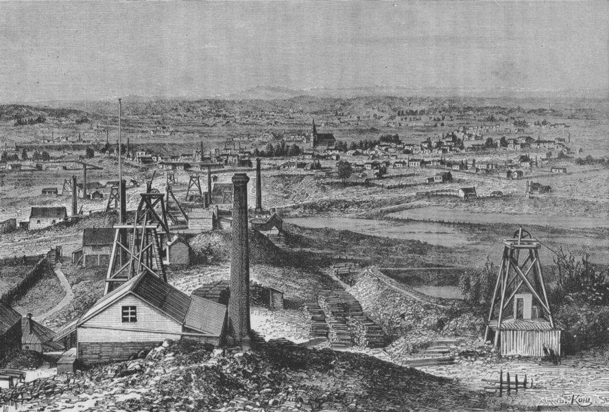 Associate Product MELBOURNE. The Mines of Sandhurst 1882 old antique vintage print picture