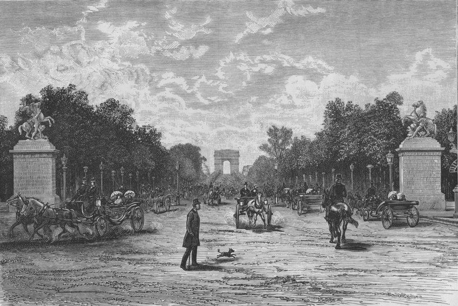 Associate Product PARIS. The Champs Elysees, from the Place de la Concorde 1882 old print