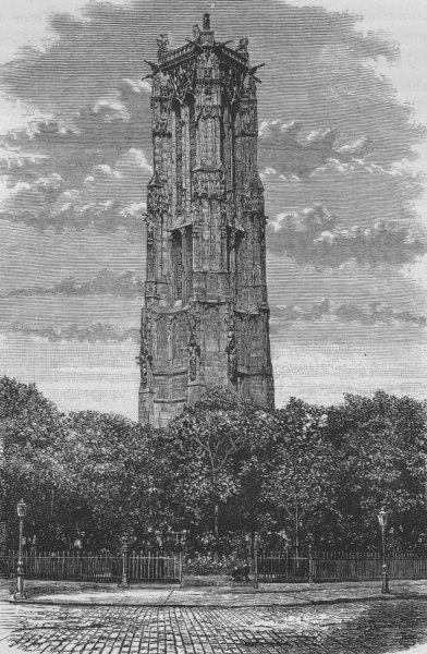 Associate Product PARIS. The Tour de St Jacques 1882 old antique vintage print picture