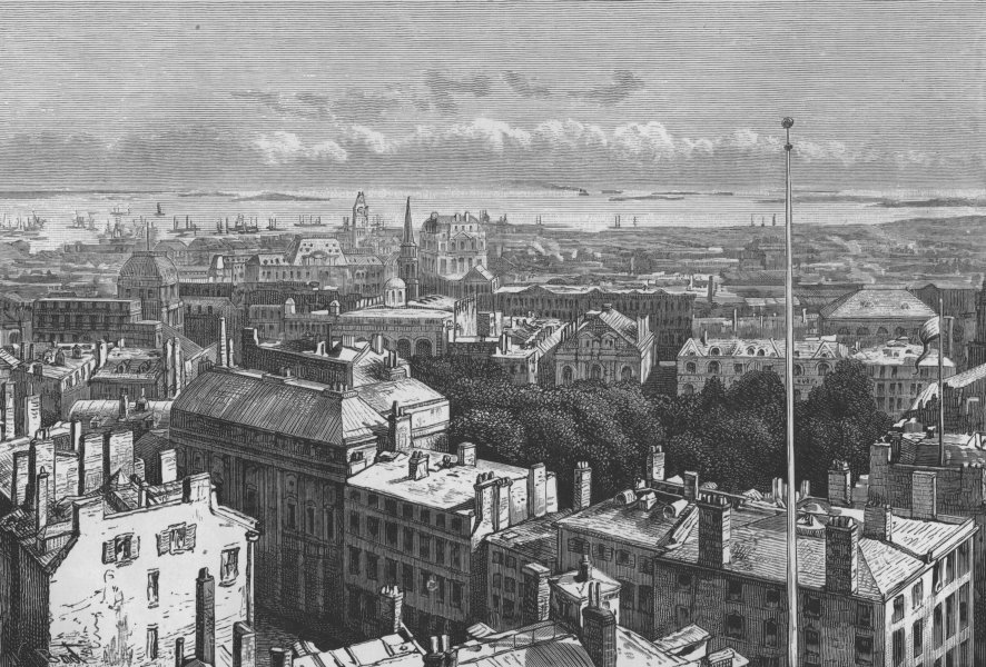 Associate Product BOSTON. View of Boston, from the State House 1882 old antique print picture