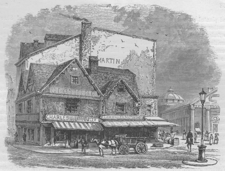 Associate Product BOSTON. Old House, Dock Square, where the Tea-Plot was hatched 1882 print