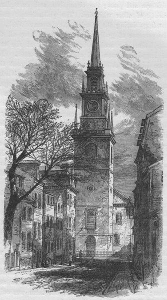 Associate Product BOSTON. Christ Church 1882 old antique vintage print picture