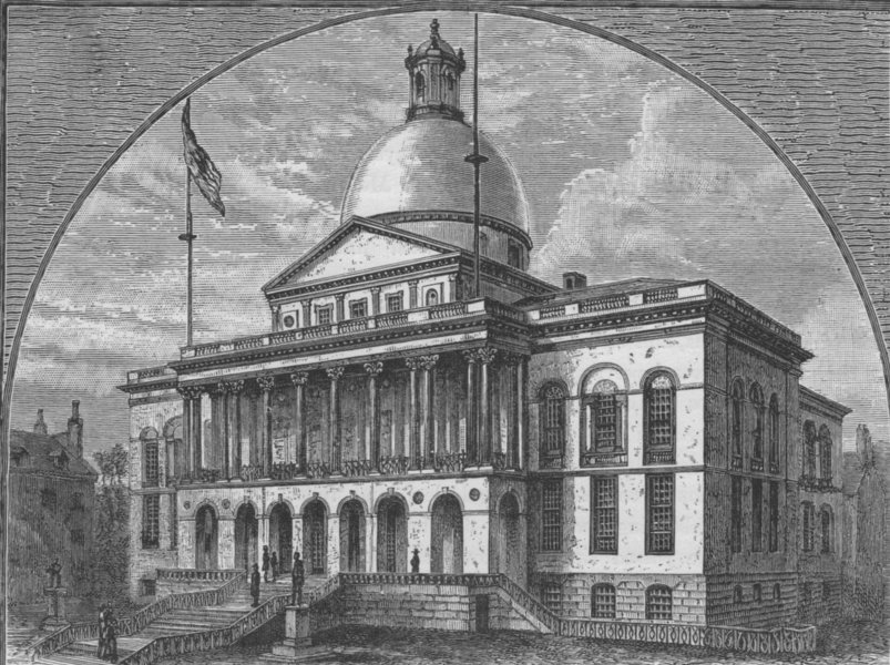 Associate Product BOSTON. The State House 1882 old antique vintage print picture