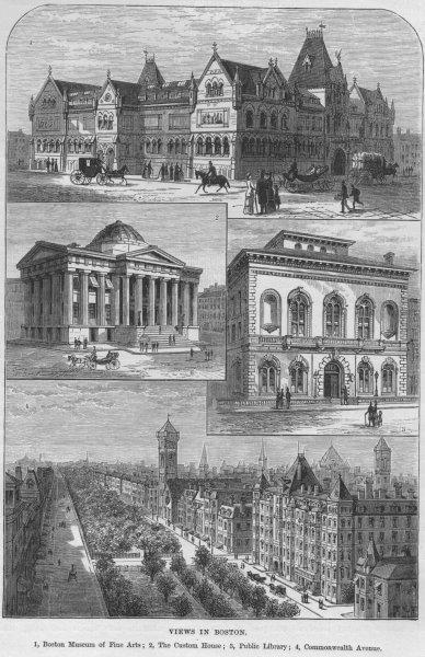 Associate Product BOSTON. Museum of Fine Arts Custom House Public Library Commonwealth Avenue 1882