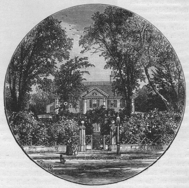 CAMBRIDGE. Long-fellow's House, Cambridge 1882 old antique print picture
