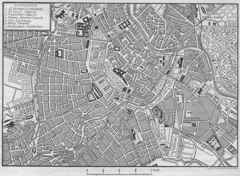 Associate Product VIENNA. Plan of Vienna 1882 old antique vintage map chart