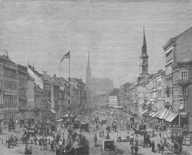 Associate Product VIENNA. The Prater Strasse 1882 old antique vintage print picture