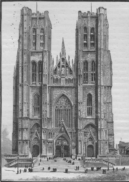 Associate Product BRUSSELS. The Church of St Gudule 1882 old antique vintage print picture
