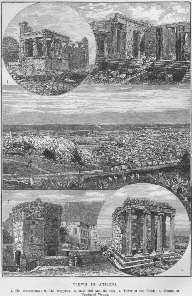 Associate Product ATHENS. Erechthcium Propylaea Mars Hill Temple of Unwinged Victory 1882 print