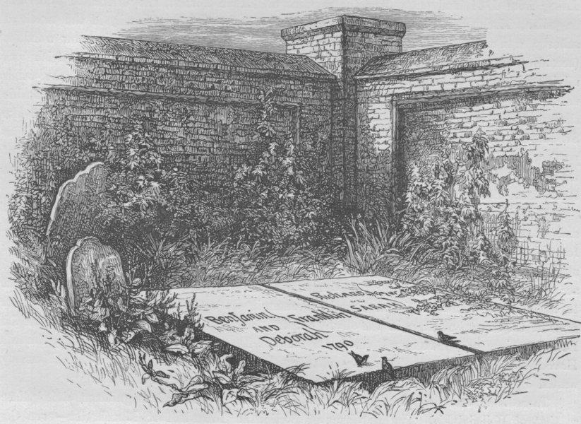 Associate Product PHILADELPHIA. Franklin's Grave 1882 old antique vintage print picture