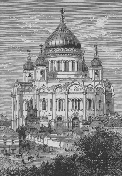 MOSCOW. Church of St Saviour 1882 old antique vintage print picture