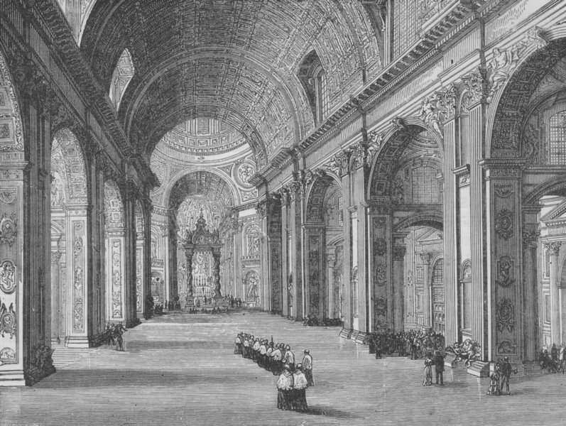 Associate Product ROME. Interior of St Peter's 1882 old antique vintage print picture