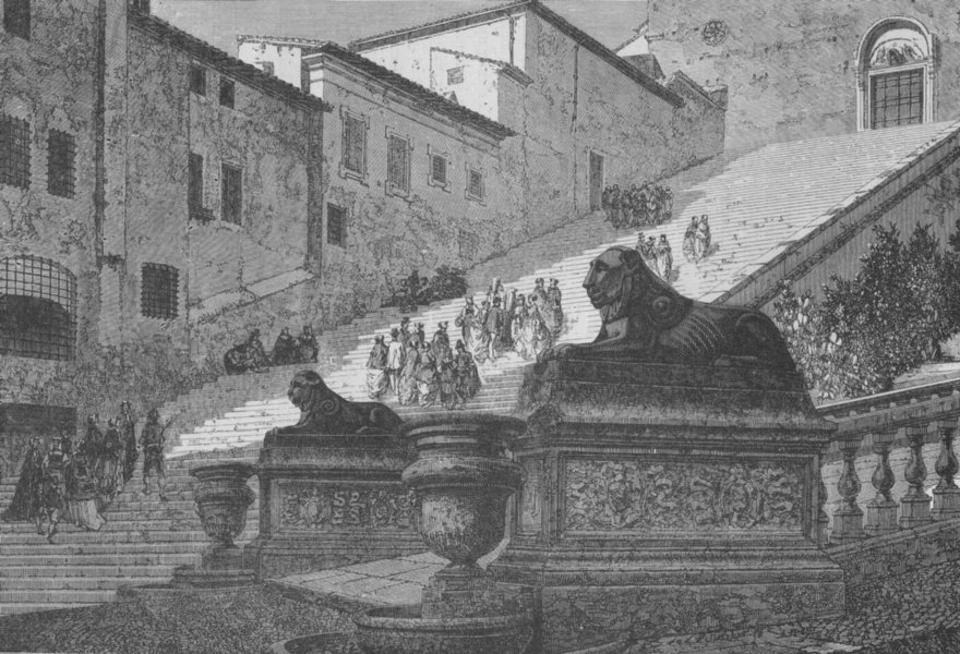 Associate Product ROME. The Scala Coeli . Stairs of the Church of St Mary of the Capitol 1882