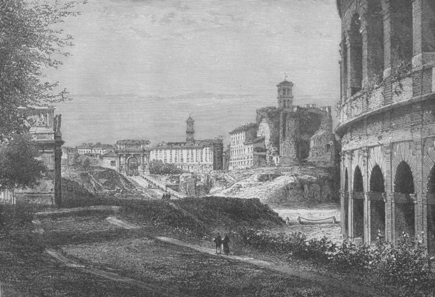 Associate Product ROME. Entrance to the Forum by the Sacred Way 1882 old antique print picture
