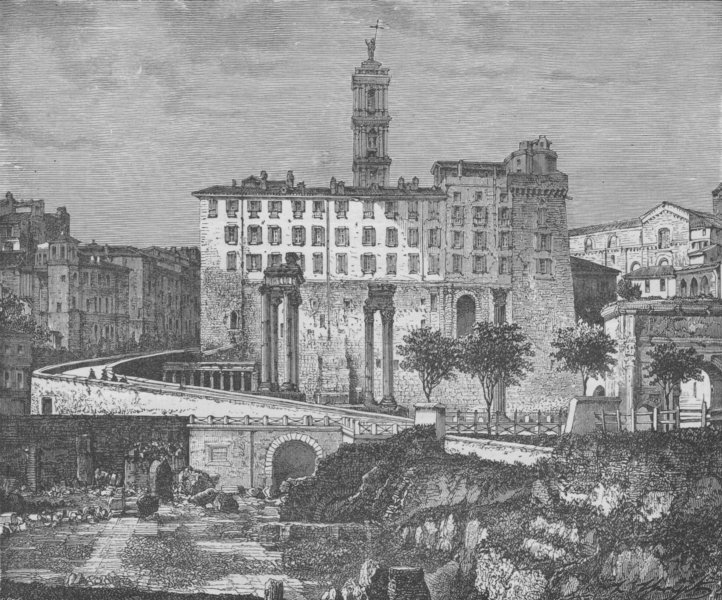 ROME. Tabularium and Back of Senatorial Palace, from the Forum 1882 old print