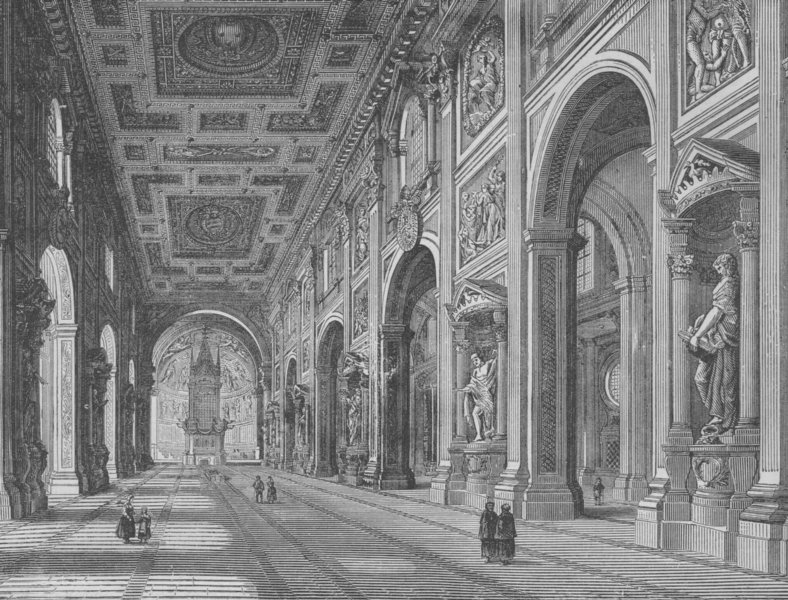 Associate Product ROME. Interior of St John Lateran 1882 old antique vintage print picture