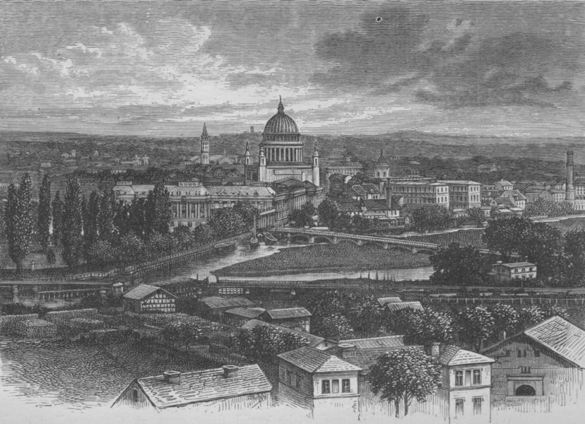 Associate Product BERLIN. Potsdam, from the Brauhausberg 1882 old antique vintage print picture
