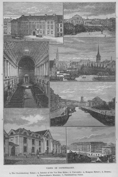 Associate Product COPENHAGEN. Charlottenborg Vor Frue Kirke University Bourse Christiansborg 1882