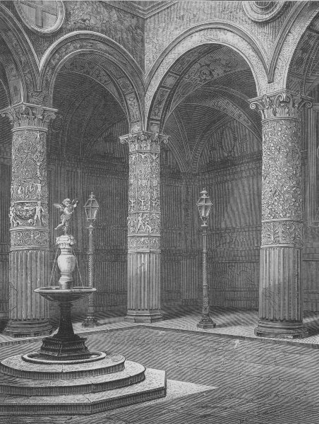 Associate Product FLORENCE. Courtyard of the Palazzo Vecchio 1882 old antique print picture