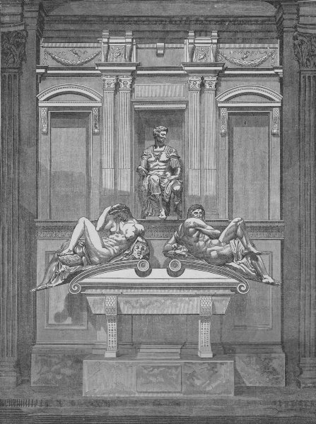 Associate Product FLORENCE. The Tomb of Lorenzo de' Medicis 1882 old antique print picture