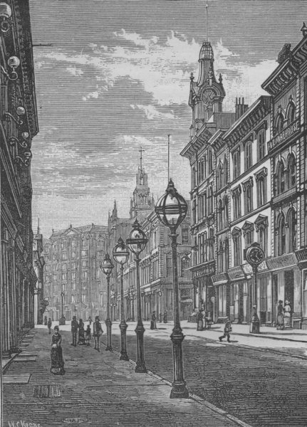 Associate Product SAN FRANCISCO. Montgomery Street—The Palace Hotel in the Distance 1882 print