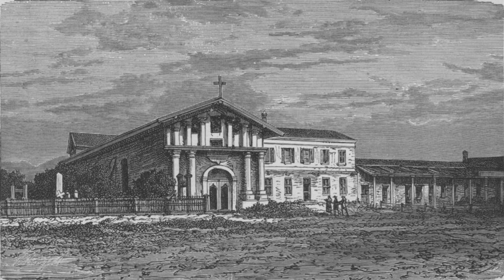 SAN FRANCISCO. The Old Church of Mission Dolores, built in 1776 1882 print