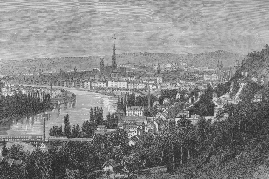 Associate Product ROUEN. Rouen, from St Catherine's Hill 1882 old antique vintage print picture