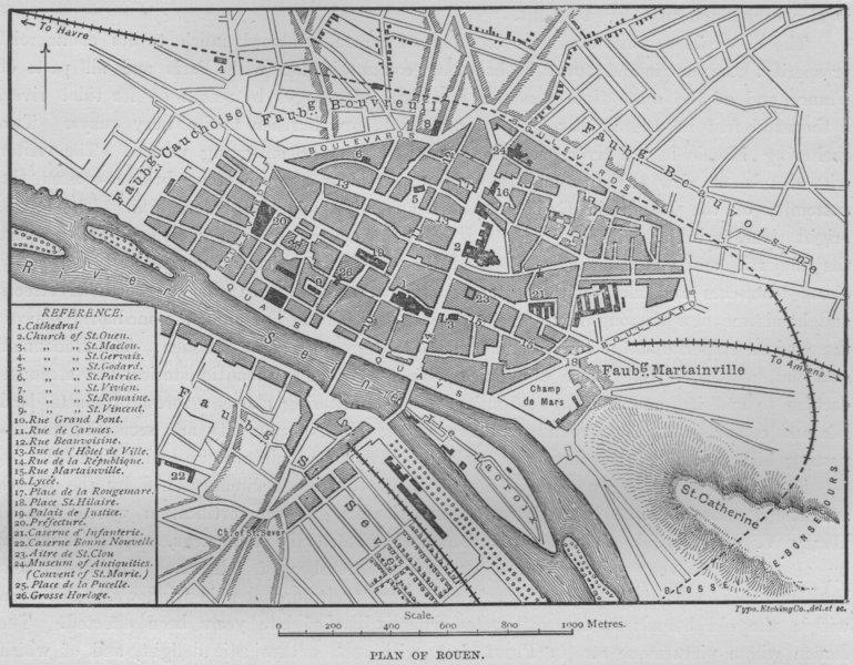 Associate Product ROUEN. Plan of Rouen 1882 old antique vintage map chart