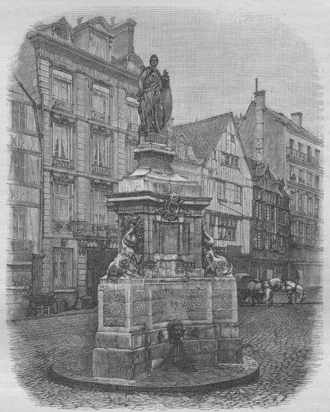 Associate Product ROUEN. The Place de la Pucelle 1882 old antique vintage print picture
