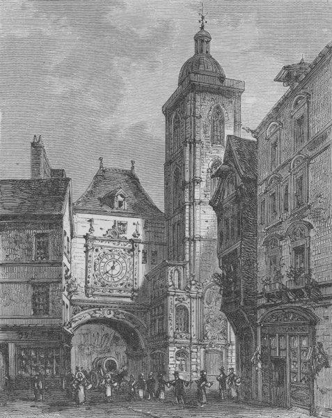 Associate Product ROUEN. Rue de la Grosse Horloge 1882 old antique vintage print picture