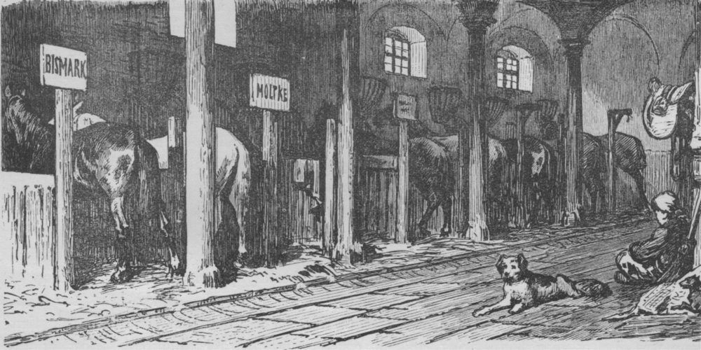 Associate Product MADRID. The Royal Stables 1882 old antique vintage print picture