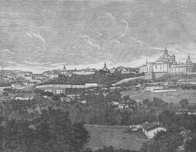 Associate Product MADRID. View of Madrid 1882 old antique vintage print picture