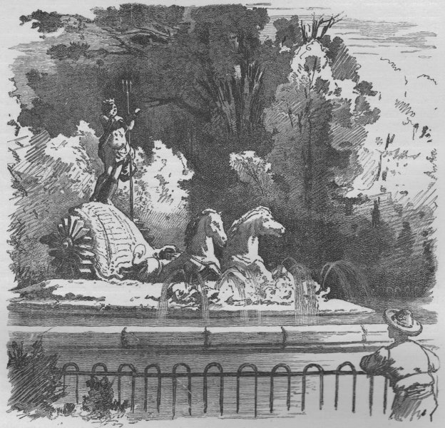 Associate Product MADRID. Fountain of Neptune 1882 old antique vintage print picture