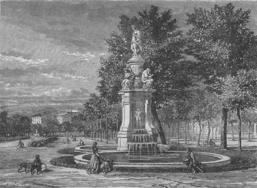 Associate Product MADRID. Fountain of the Four Seasons, Prado 1882 old antique print picture