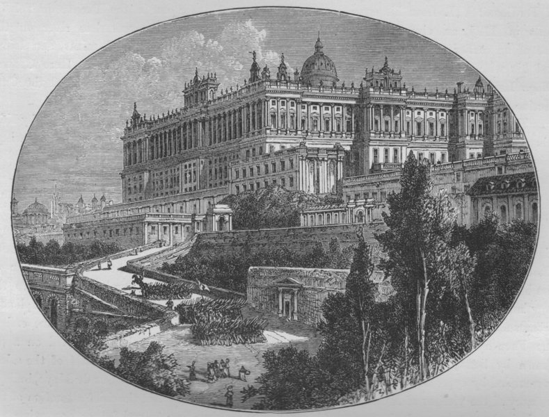 Associate Product MADRID. The Royal Palace 1882 old antique vintage print picture