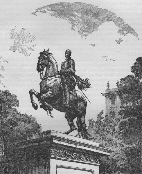 MADRID. Statue of Philip IV on the Plaza de Oriente 1882 old antique print
