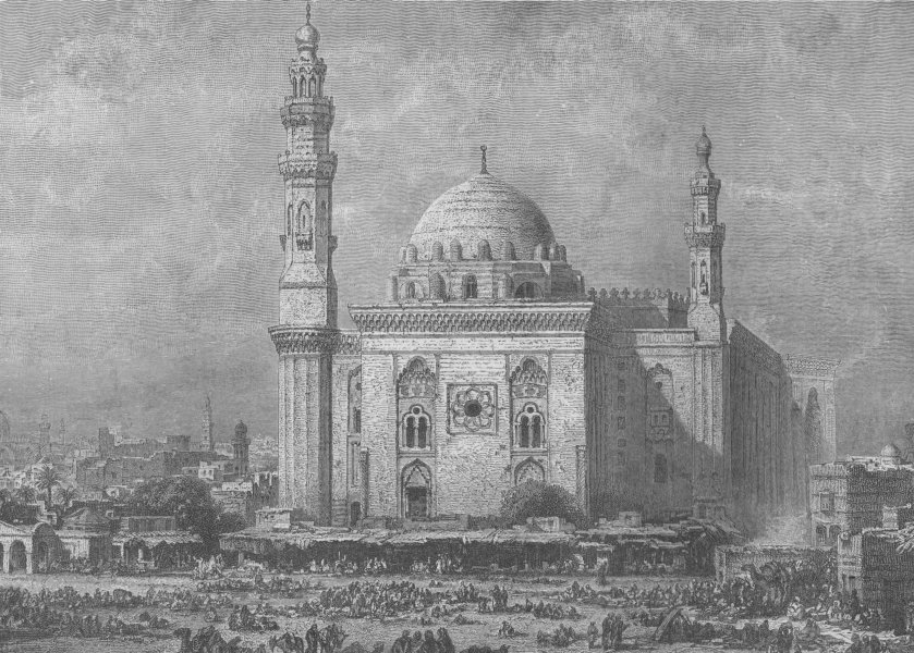CAIRO. Roumeyleh Place, with the Mosque of Hassan 1882 old antique print
