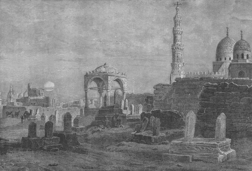 Associate Product CAIRO. The Tombs of the Caliphs 1882 old antique vintage print picture