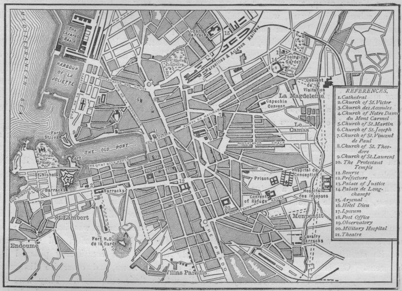 Associate Product MARSEILLES. Plan of Marseilles 1882 old antique vintage map chart