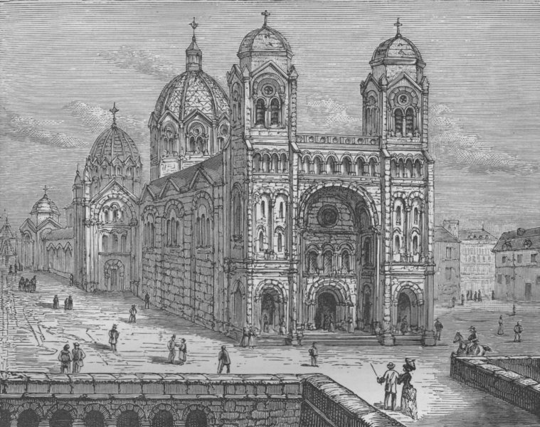 Associate Product MARSEILLES. The Cathedral of Marseilles 1882 old antique vintage print picture