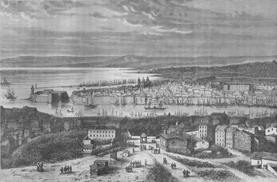 MARSEILLES. General View of Marseilles 1882 old antique vintage print picture