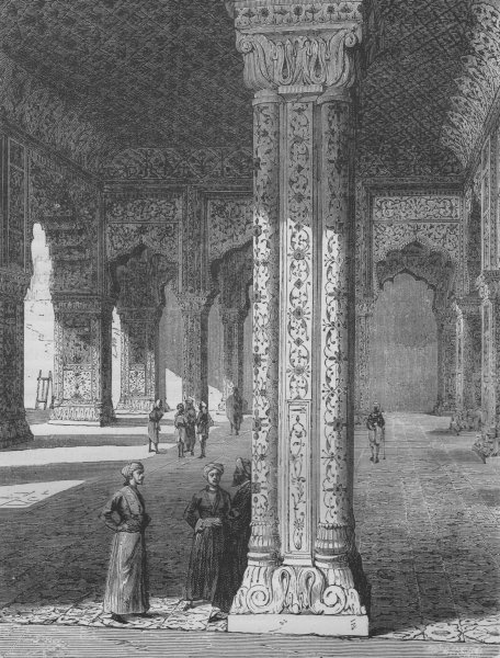 Associate Product DELHI. The Throne-room in the Palace of Delhi 1882 old antique print picture
