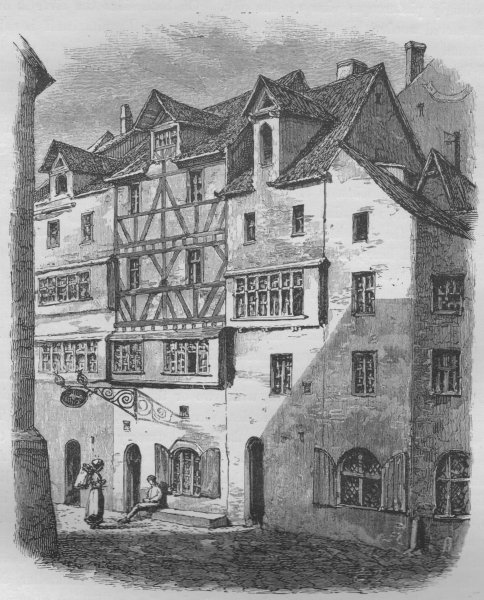 Associate Product NUREMBERG. The House of Hans Sachs 1882 old antique vintage print picture