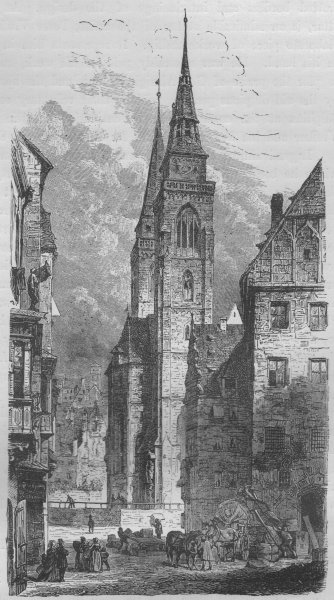 Associate Product NUREMBERG. St Sebald's Church 1882 old antique vintage print picture