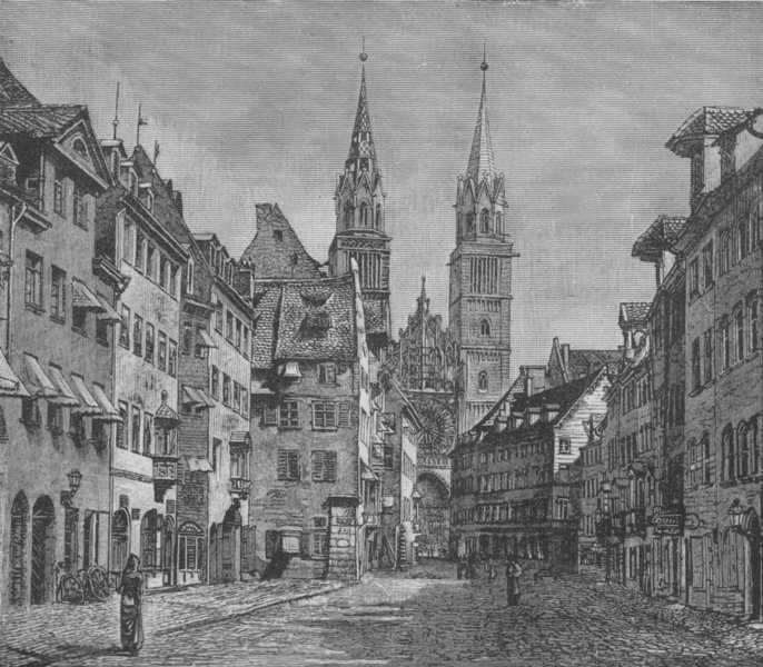 Associate Product NUREMBERG. The Karolinen-Strasse and Church of St Lawrence 1882 old print