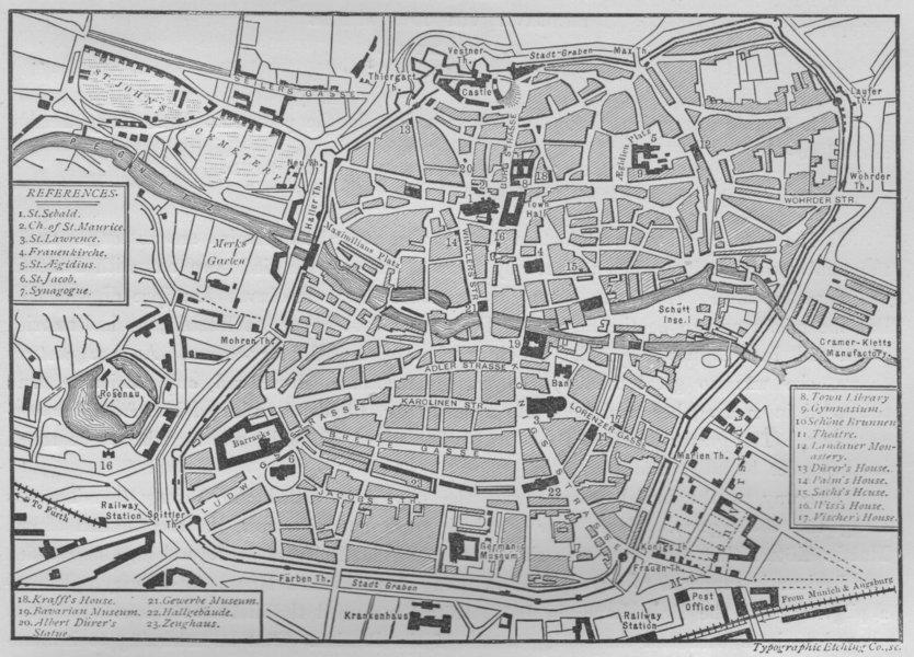 Associate Product NUREMBERG. Plan of Nuremberg 1882 old antique vintage map chart