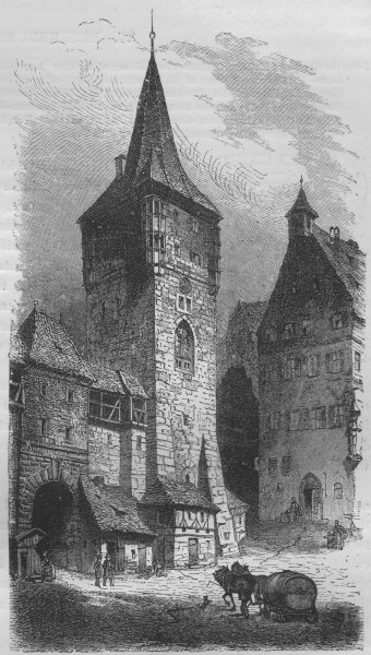 NUREMBERG. The Menagerie Tower 1882 old antique vintage print picture